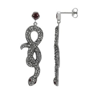 Lavish by TJM Sterling Silver Garnet Snake Drop Earrings - Made with Swarovski Marcasite