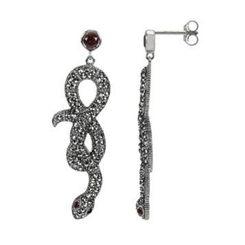 Lavish by TJM Sterling Silver Garnet Snake Drop Earrings - Made with Swarovski Marcasite