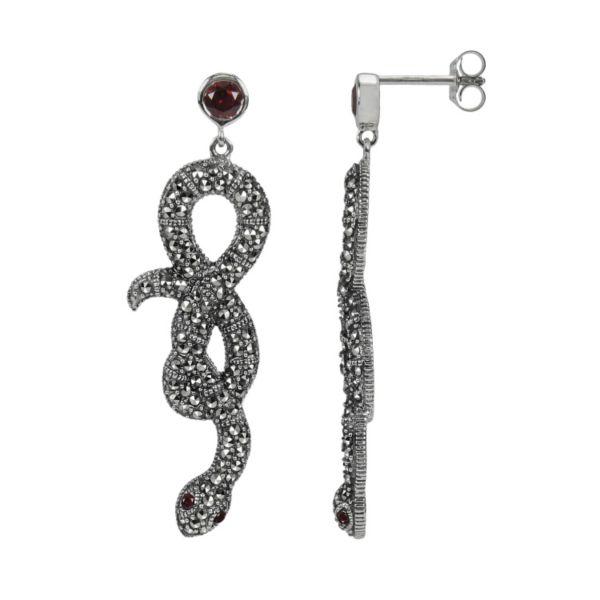 Lavish by TJM Sterling Silver Garnet Snake Drop Earrings