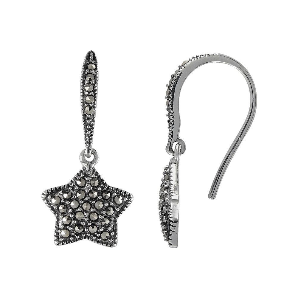 Lavish by TJM Sterling Silver Star Drop Earrings - Made with Swarovski Marcasite