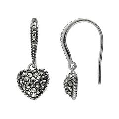 Lavish by TJM Sterling Silver Heart Drop Earrings - Made with Swarovski Marcasite