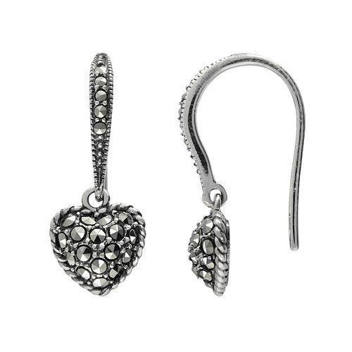 Lavish by TJM Sterling Silver Heart Drop Earrings - Made with Swarovski Marcasite