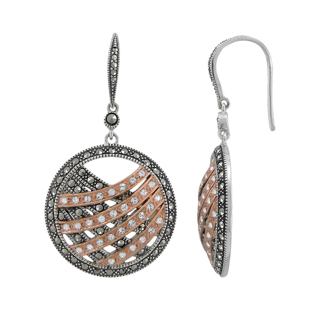 Lavish by TJM 14k Rose Gold Over Silver & Sterling Silver Crystal Drop Earrings - Made with Swarovski Marcasite