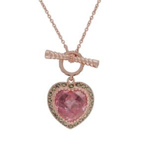 Lavish by TJM 14k Rose Gold Over Silver Pink Cubic Zirconia Heart Pendant - Made with Swarovski Marcasite