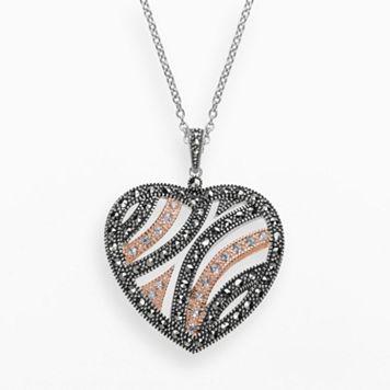 Lavish by TJM 14k Rose Gold Over Silver & Sterling Silver Crystal Heart Pendant - Made with Swarovski Marcasite