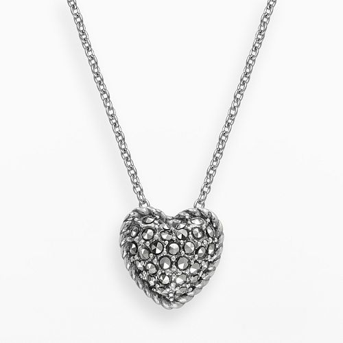 Lavish by TJM Sterling Silver Heart Pendant - Made with Swarovski Marcasite