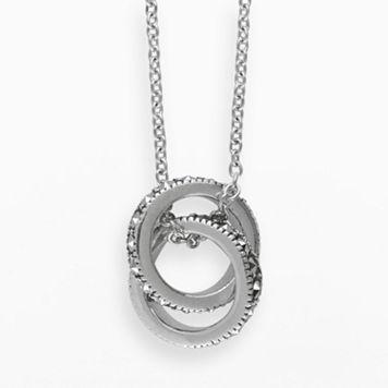 Lavish by TJM Sterling Silver Interlocking Ring Pendant - Made with Swarovski Marcasite