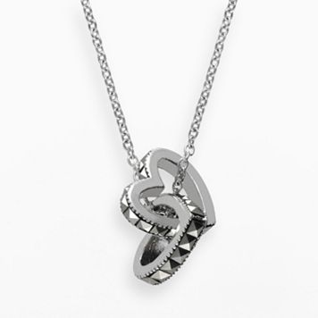 Lavish by TJM Sterling Silver Interlocking Heart Pendant - Made with Swarovski Marcasite