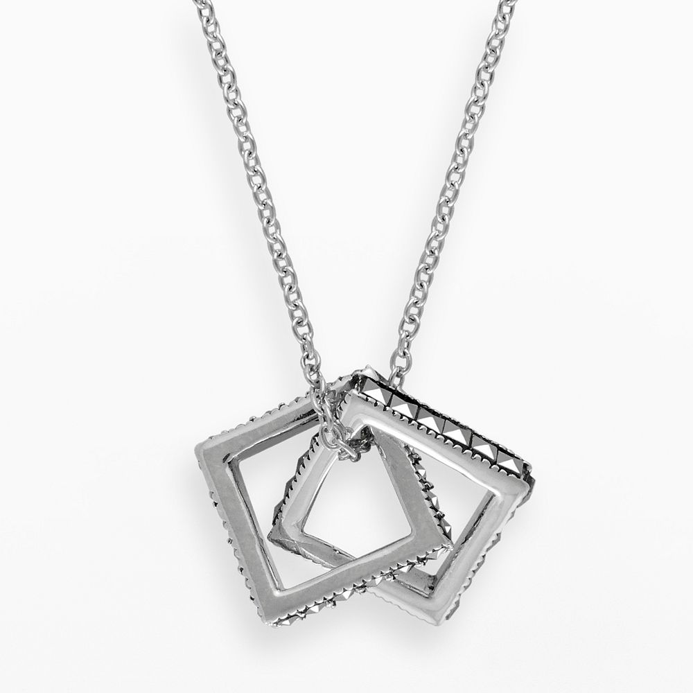 Lavish by TJM Sterling Silver Interlocking Square Pendant - Made with Swarovski Marcasite