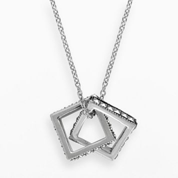 Lavish by TJM Sterling Silver Interlocking Square Pendant - Made with Swarovski Marcasite