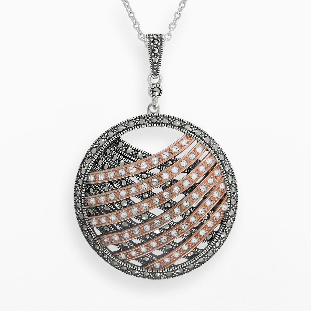 Lavish by TJM 14k Rose Gold Over Silver & Sterling Silver Crystal Pendant - Made with Swarovski Marcasite