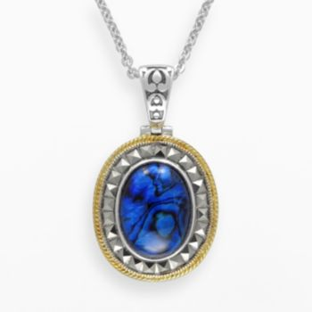 Lavish by TJM 14k Gold Over Silver and Sterling Silver Blue Abalone Doublet Pendant - Made with Swarovski Marcasite