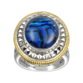 Lavish by TJM 14k Gold Over Silver and Sterling Silver Blue Abalone Doublet Ring - Made with Swarovski Marcasite