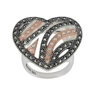 Lavish by TJM 14k Rose Gold Over Silver and Sterling Silver Crystal Heart Ring - Made with Swarovski Marcasite