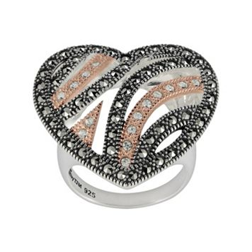 Lavish by TJM 14k Rose Gold Over Silver & Sterling Silver Crystal Heart Ring - Made with Swarovski Marcasite