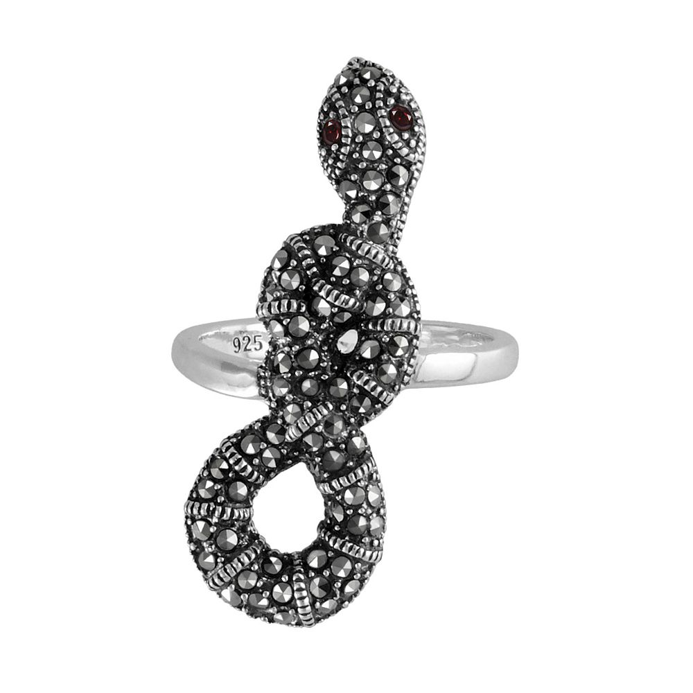 Lavish by TJM Sterling Silver Garnet Snake Ring - Made with Swarovski Marcasite