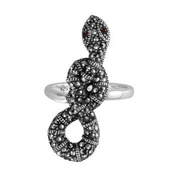 Lavish by TJM Sterling Silver Garnet Snake Ring - Made with Swarovski Marcasite