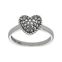 Lavish by TJM Sterling Silver Heart Ring - Made with Swarovski Marcasite
