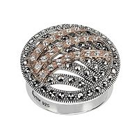 Lavish by TJM 14k Rose Gold Over Silver & Sterling Silver Crystal Ring - Made with Swarovski Marcasite