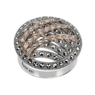 Lavish by TJM 14k Rose Gold Over Silver and Sterling Silver Crystal Ring - Made with Swarovski Marcasite