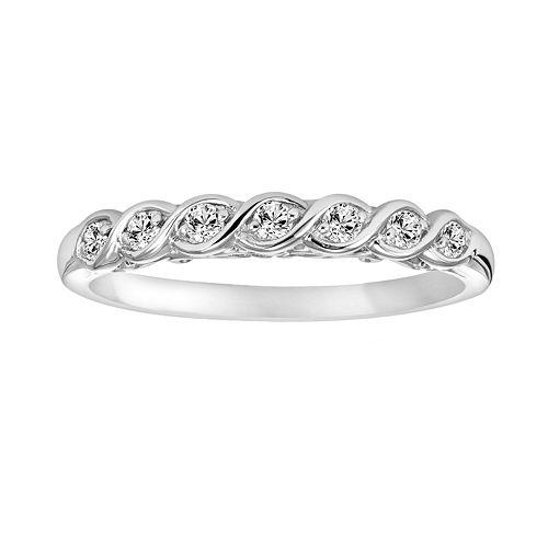 Simply Vera Vera Wang 14k White Gold 1/7-ct. T.W. Diamond Twist Wedding Ring