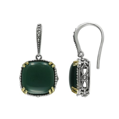 Lavish by TJM 14k Gold Over Silver & Sterling Silver Agate Drop Earrings - Made with Swarovski Marcasite