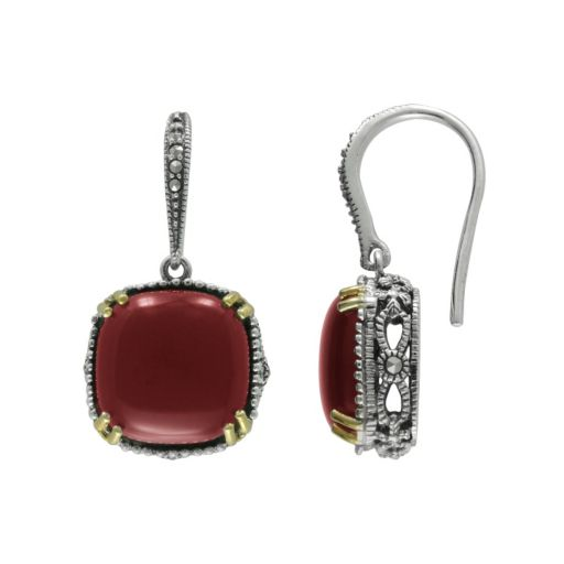 Lavish by TJM 14k Gold Over Silver and Sterling Silver Agate Drop Earrings - Made with Swarovski Marcasite