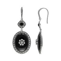 Lavish by TJM Sterling Silver Onyx Flower Halo Drop Earrings - Made with Swarovski Marcasite