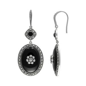 Lavish by TJM Sterling Silver Onyx Flower Halo Drop Earrings - Made with Swarovski Marcasite