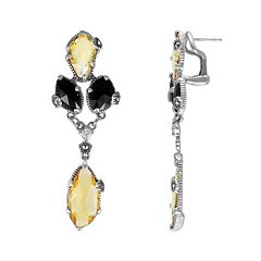 Lavish by TJM Sterling Silver Champagne Quartz, Onyx & Cubic Zirconia Drop Earrings - Made with Swarovski Marcasite