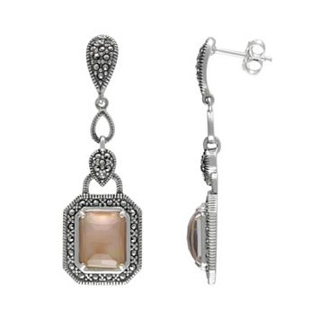 Lavish by TJM Sterling Silver Mother-of-Pearl & Crystal Doublet Earrings - Made with Swarovski Marcasite