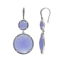Lavish by TJM Sterling Silver Lavender Jade Halo Drop Earrings - Made with Swarovski Marcasite