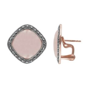 Lavish by TJM 14k Rose Gold Over Silver and Sterling Silver Rose Quartz Halo Button Stud Earrings - Made with Swarovski Marcasite
