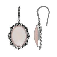 Lavish by TJM Sterling Silver Pink Chalcedony Halo Drop Earrings - Made with Swarovski Marcasite