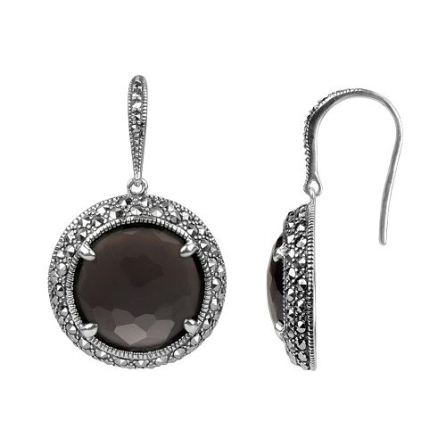 Lavish by TJM Sterling Silver Smoky Quartz Halo Drop Earrings - Made with Swarovski Marcasite