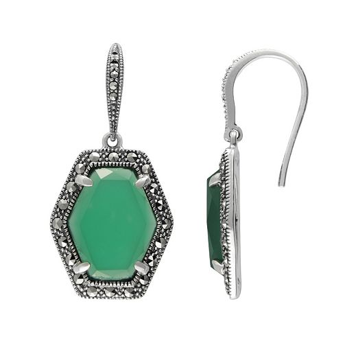 Lavish by TJM Sterling Silver Green Chalcedony Halo Drop Earrings - Made with Swarovski Marcasite
