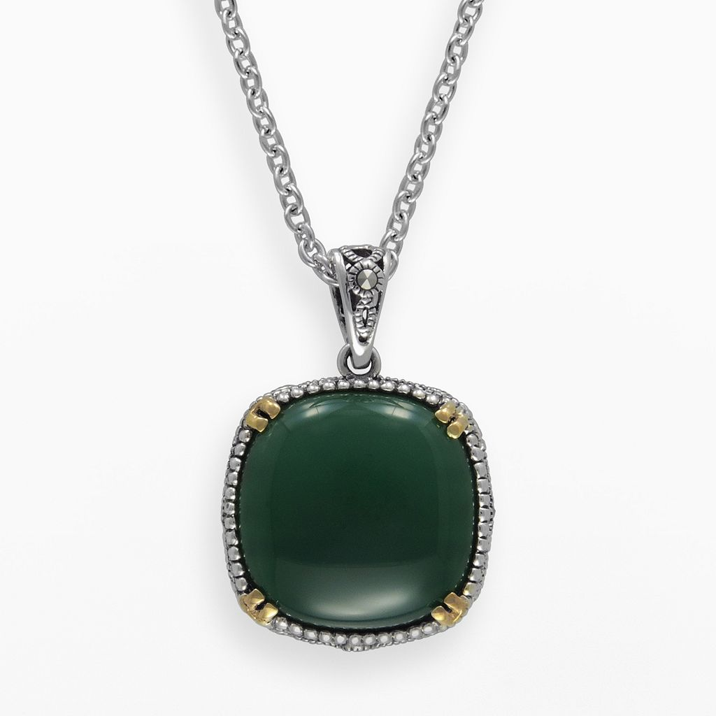 Lavish by TJM 14k Gold Over Silver & Sterling Silver Agate Pendant - Made with Swarovski Marcasite
