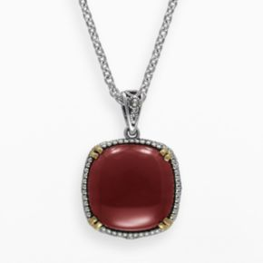Lavish by TJM 14k Gold Over Silver and Sterling Silver Agate Pendant - Made with Swarovski Marcasite