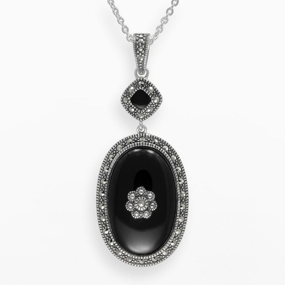 Lavish by TJM Sterling Silver Onyx Flower Pendant - Made with Swarovski Marcasite