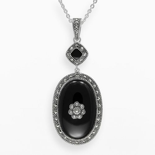 Lavish by TJM Sterling Silver Onyx Flower Pendant - Made with Swarovski Marcasite