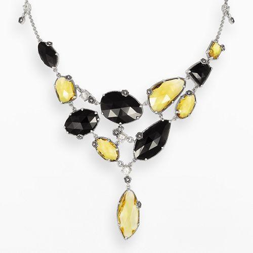 Lavish by TJM Sterling Silver Champagne Quartz, Onyx & Cubic Zirconia Bib Necklace - Made with Swarovski Marcasite