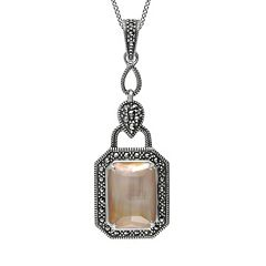 Lavish by TJM Sterling Silver Mother-of-Pearl & Crystal Doublet Pendant - Made with Swarovski Marcasite