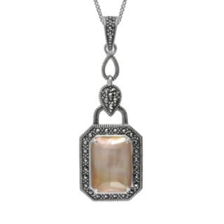 Lavish by TJM Sterling Silver Mother-of-Pearl and Crystal Doublet Pendant - Made with Swarovski Marcasite