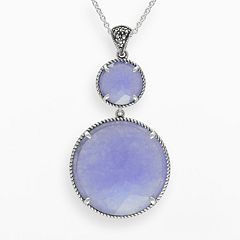 Lavish by TJM Sterling Silver Lavender Jade Pendant - Made with Swarovski Marcasite