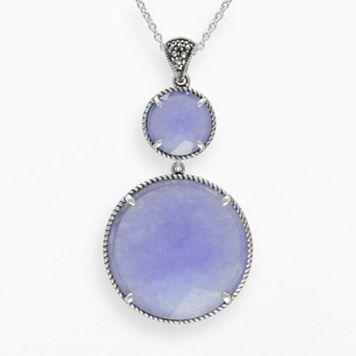 Lavish by TJM Sterling Silver Lavender Jade Pendant - Made with Swarovski Marcasite