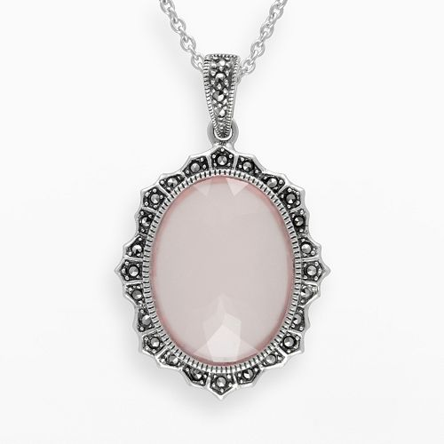 Lavish by TJM Sterling Silver Pink Chalcedony Halo Pendant - Made with Swarovski Marcasite