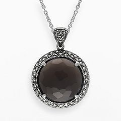 Lavish by TJM Sterling Silver Smoky Quartz Halo Pendant - Made with Swarovski Marcasite
