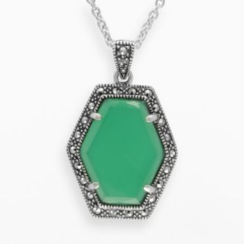 Lavish by TJM Sterling Silver Green Chalcedony Halo Pendant - Made with Swarovski Marcasite