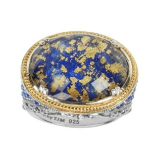 Lavish by TJM 14k Gold Over Silver and Sterling Silver Lapis and Crystal Doublet Ring