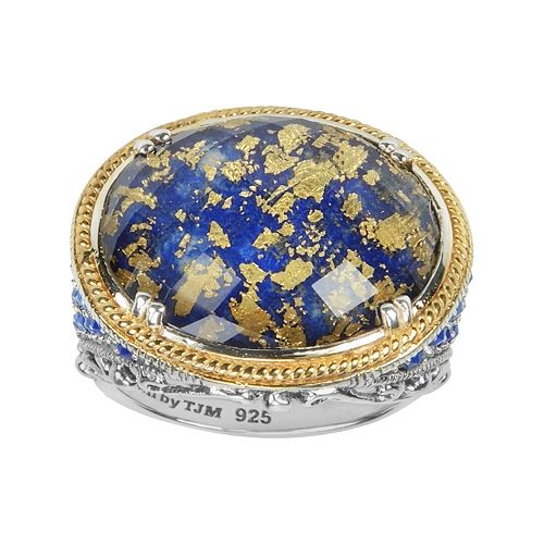 Lavish by TJM 14k Gold Over Silver & Sterling Silver Lapis & Crystal Doublet Ring